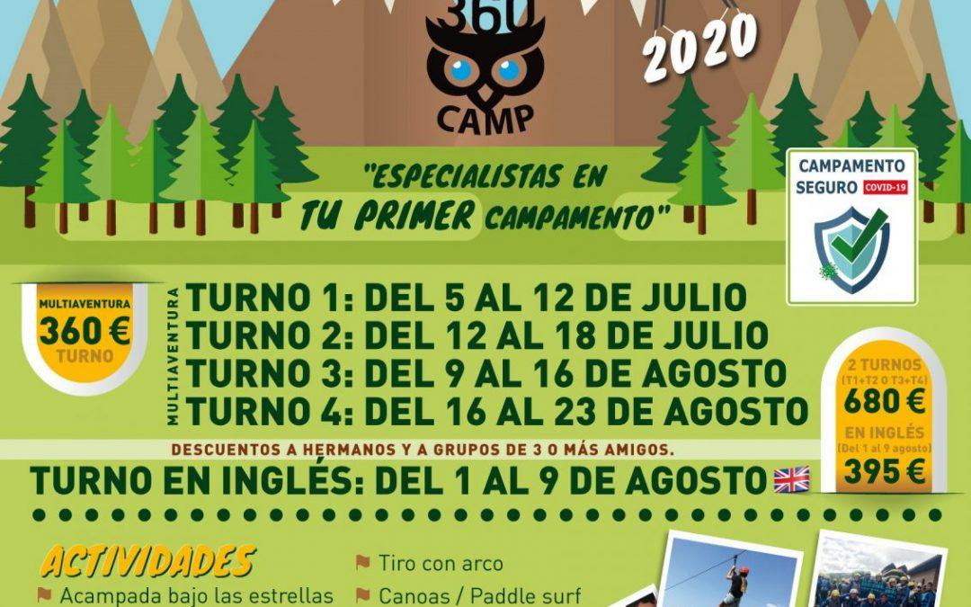 CARTEL CAMPAMENTOS 2020 DE 360 CAMP